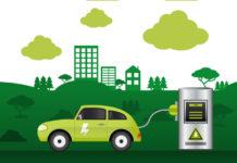 illustration d'une voiture électrique en rechargement